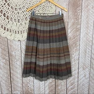 Oscar De La Renta | Wool Plaid Pleated Midi Skirt